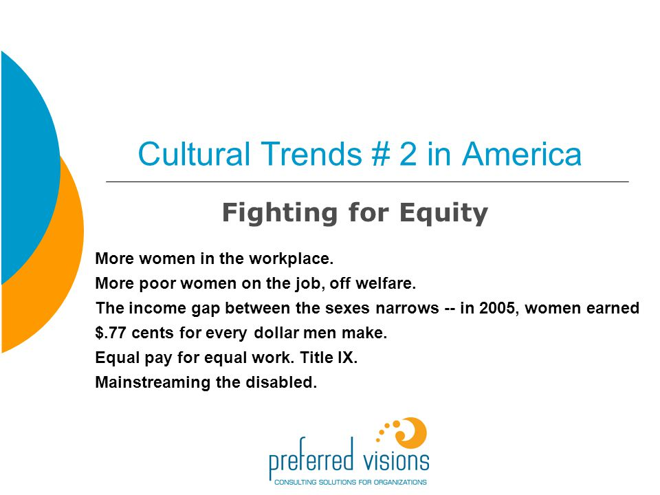 Cultural Trends # 2 in America Fighting for Equity More women in the workplace.