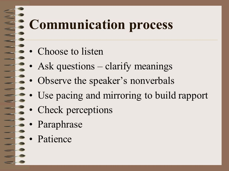 Communication process Choose to listen Ask questions – clarify meanings Observe the speakers nonverbals Use pacing and mirroring to build rapport Check perceptions Paraphrase Patience