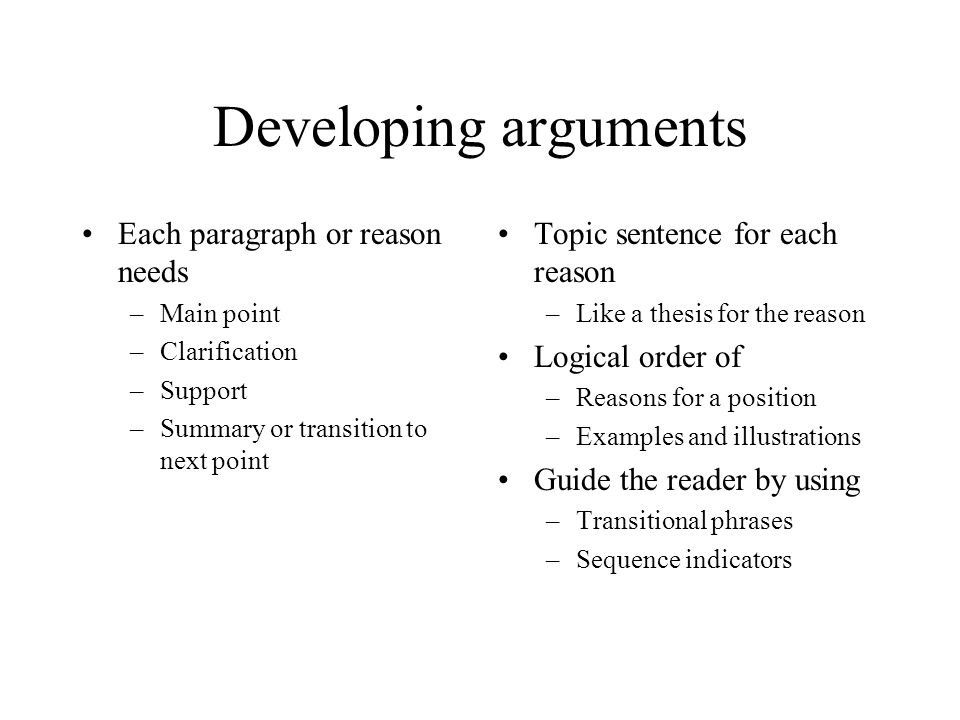 Alternatives and objections Visualize a formal debate on the issue Deal with each objection mentioned in your thesis statement.
