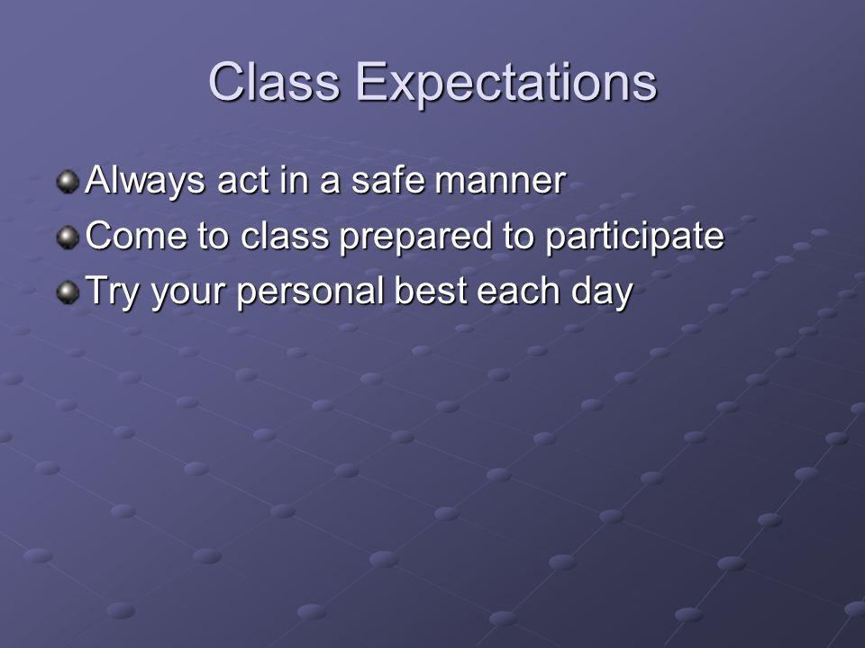 Class Expectations Always act in a safe manner Come to class prepared to participate Try your personal best each day