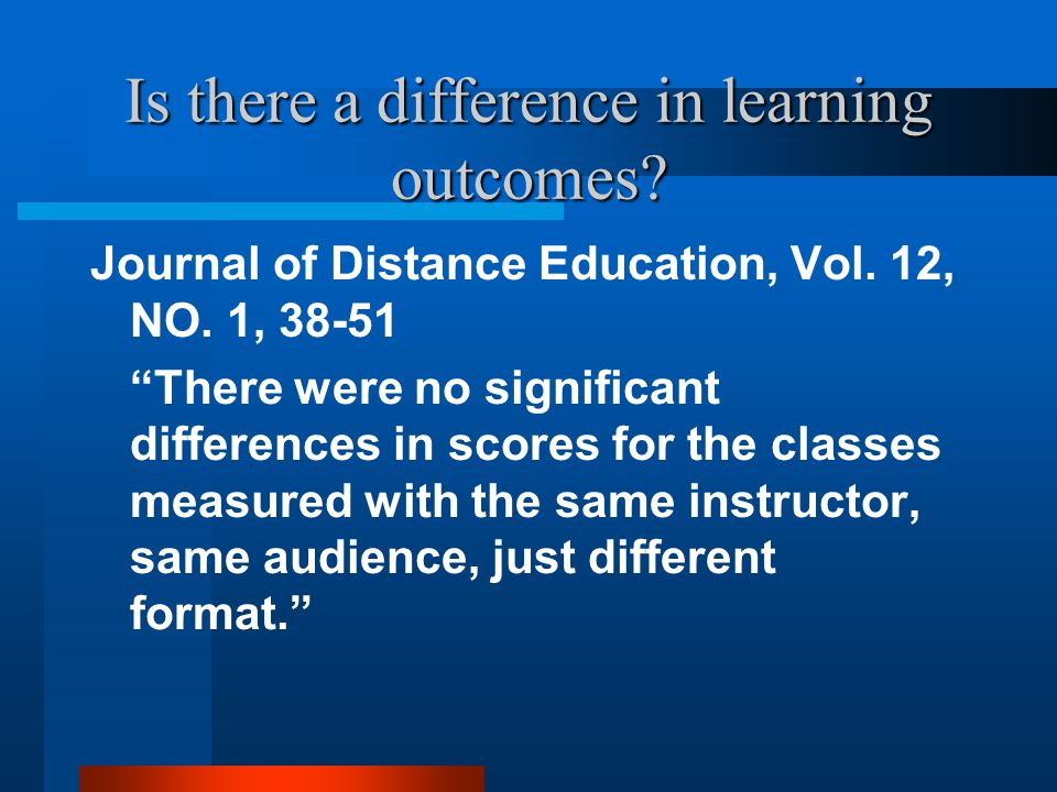 Is there a difference in learning outcomes. Journal of Distance Education, Vol.