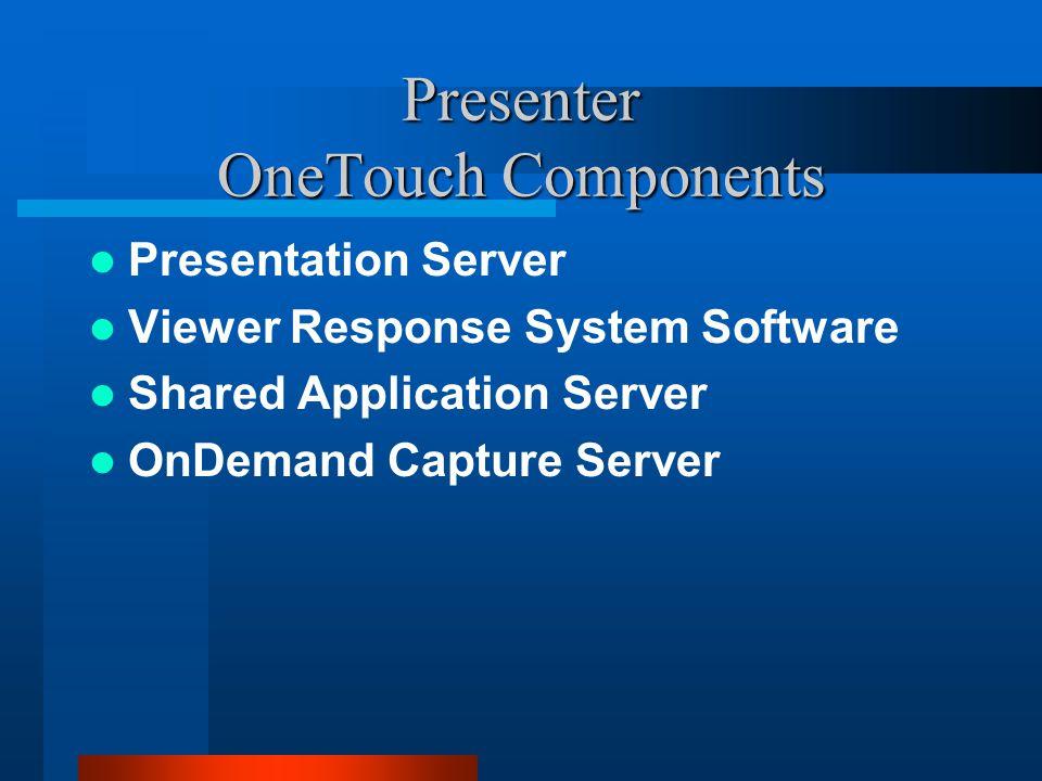 Presenter OneTouch Components Presentation Server Viewer Response System Software Shared Application Server OnDemand Capture Server