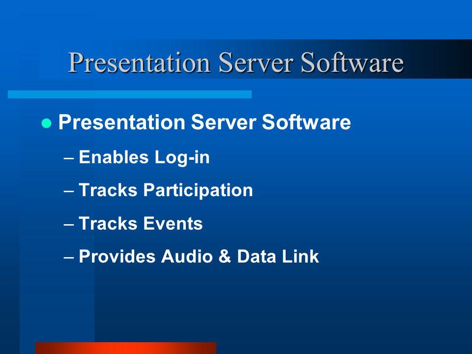 Presentation Server Software –Enables Log-in –Tracks Participation –Tracks Events –Provides Audio & Data Link