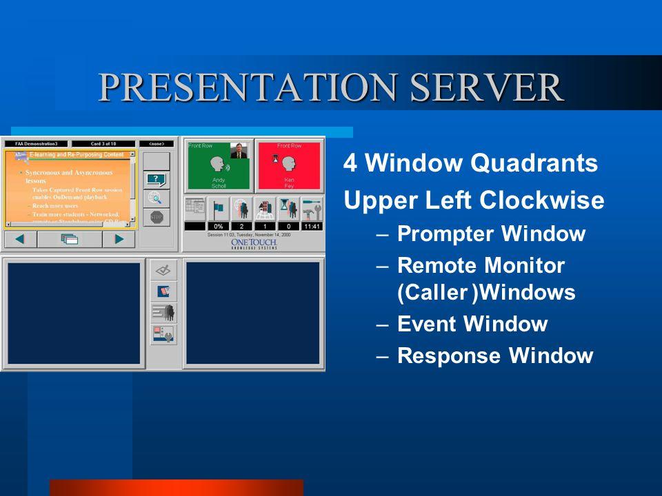 PRESENTATION SERVER 4 Window Quadrants Upper Left Clockwise –Prompter Window –Remote Monitor (Caller )Windows –Event Window –Response Window