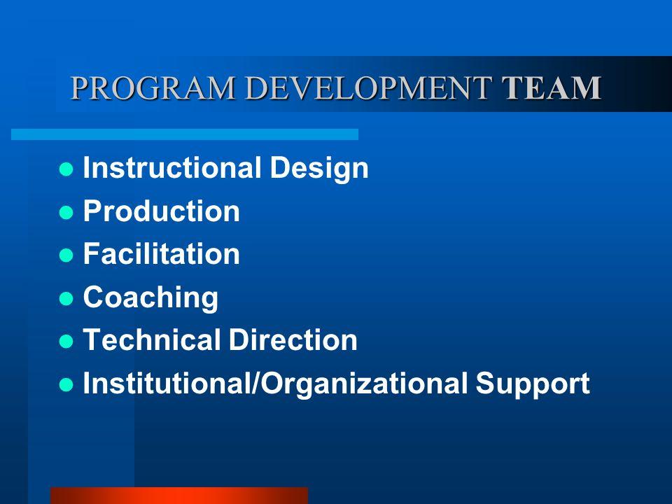PROGRAM DEVELOPMENT TEAM Instructional Design Production Facilitation Coaching Technical Direction Institutional/Organizational Support