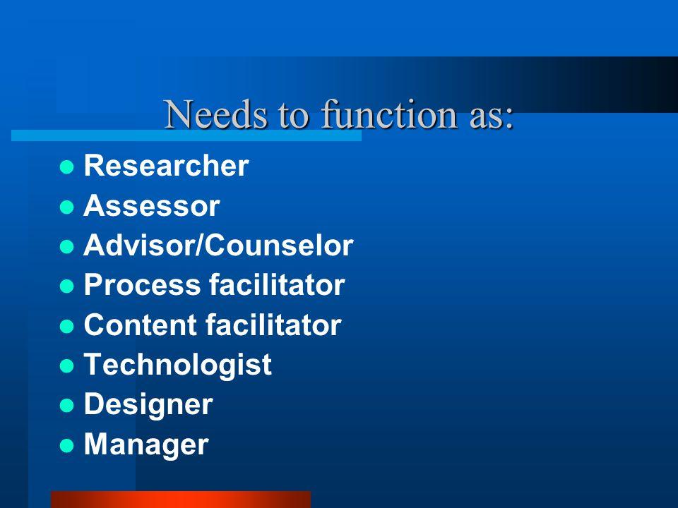 Needs to function as: Researcher Assessor Advisor/Counselor Process facilitator Content facilitator Technologist Designer Manager