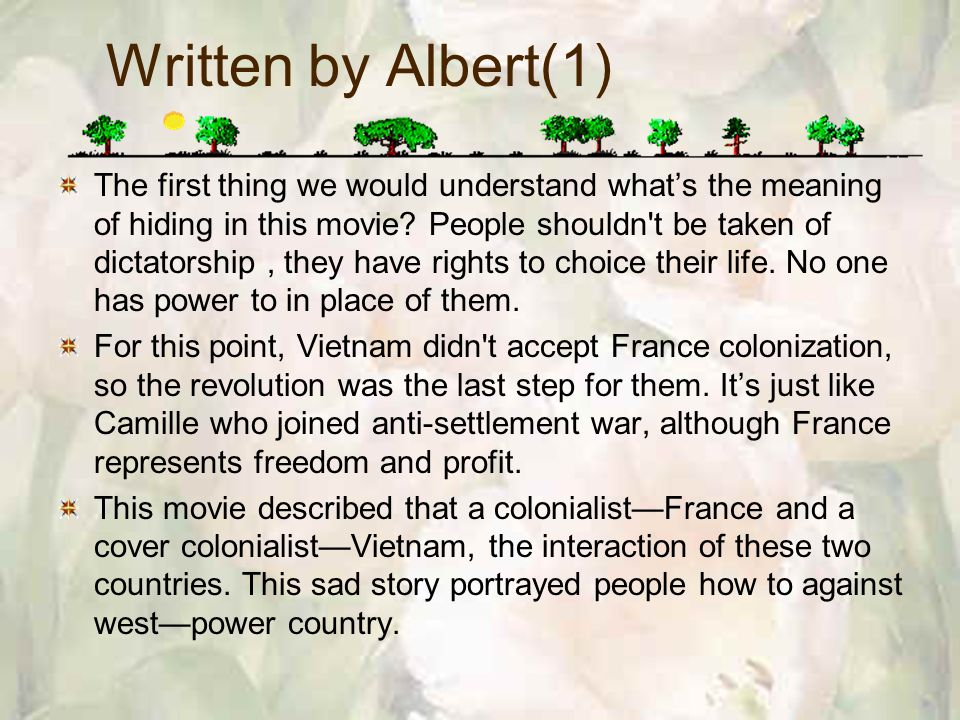 Written by Albert(1) The first thing we would understand whats the meaning of hiding in this movie.