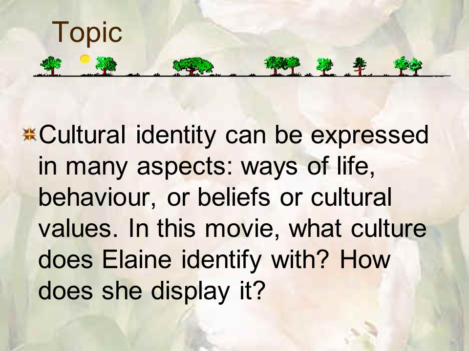 Cultural identity can be expressed in many aspects: ways of life, behaviour, or beliefs or cultural values.