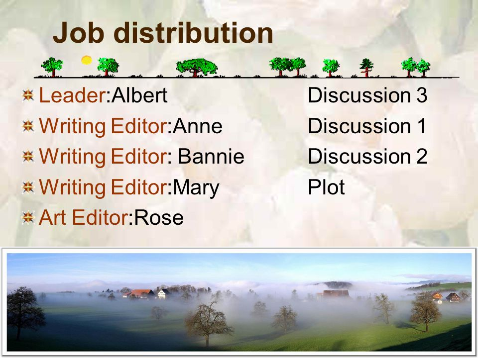 Job distribution Leader:AlbertDiscussion 3 Writing Editor:AnneDiscussion 1 Writing Editor: BannieDiscussion 2 Writing Editor:MaryPlot Art Editor:Rose