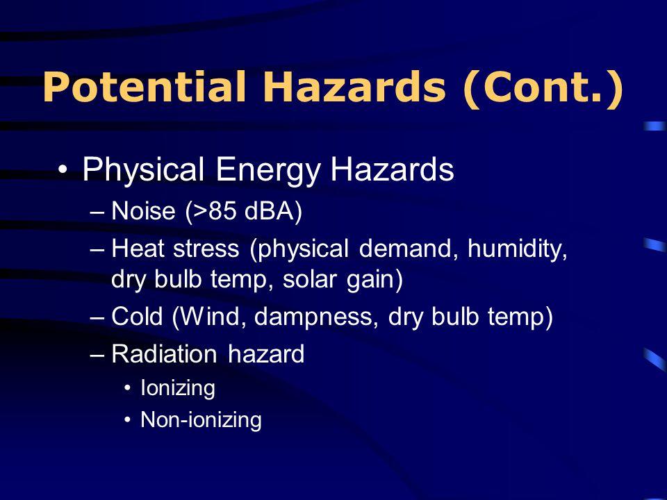 Potential Hazards (Cont.) Physical Energy Hazards –Noise (>85 dBA) –Heat stress (physical demand, humidity, dry bulb temp, solar gain) –Cold (Wind, da