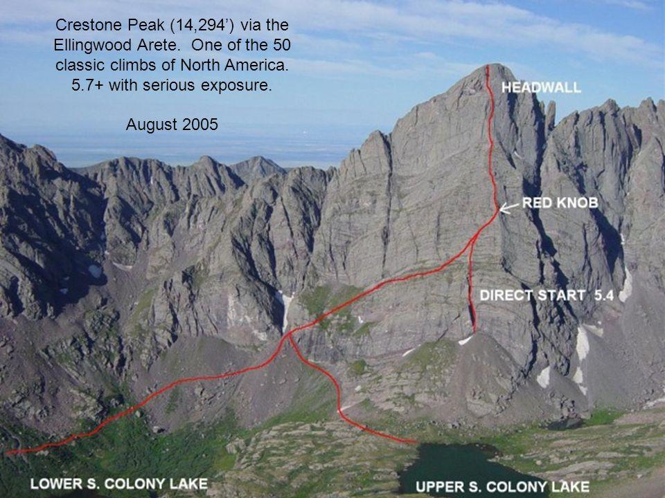 Crestone Peak (14,294) via the Ellingwood Arete. One of the 50 classic climbs of North America.