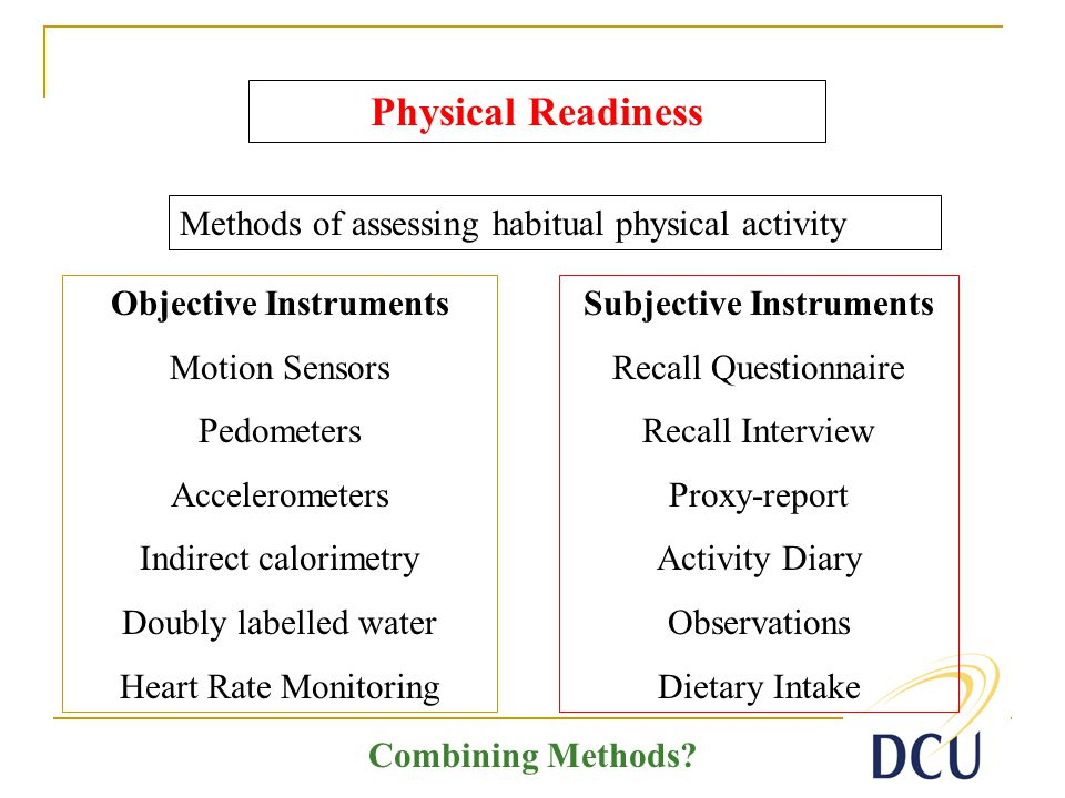 Subjective Instruments Recall Questionnaire Recall Interview Proxy-report Activity Diary Observations Dietary Intake Physical Readiness Methods of assessing habitual physical activity Objective Instruments Motion Sensors Pedometers Accelerometers Indirect calorimetry Doubly labelled water Heart Rate Monitoring Combining Methods