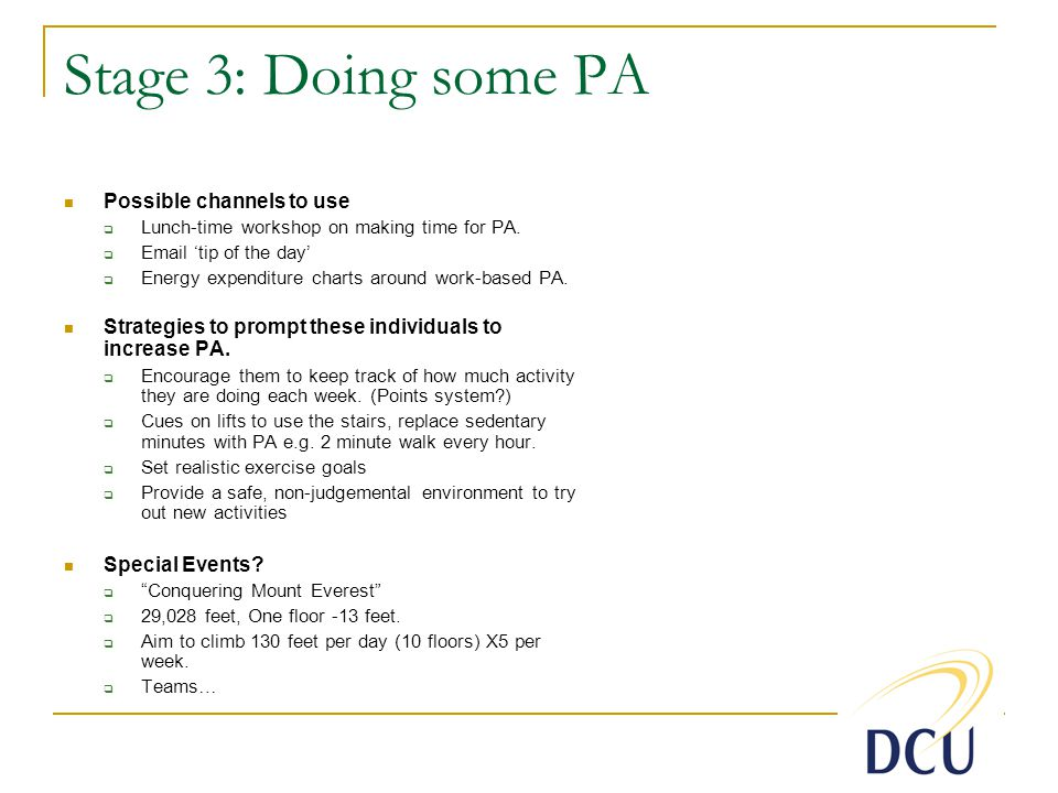 Stage 3: Doing some PA Possible channels to use Lunch-time workshop on making time for PA.