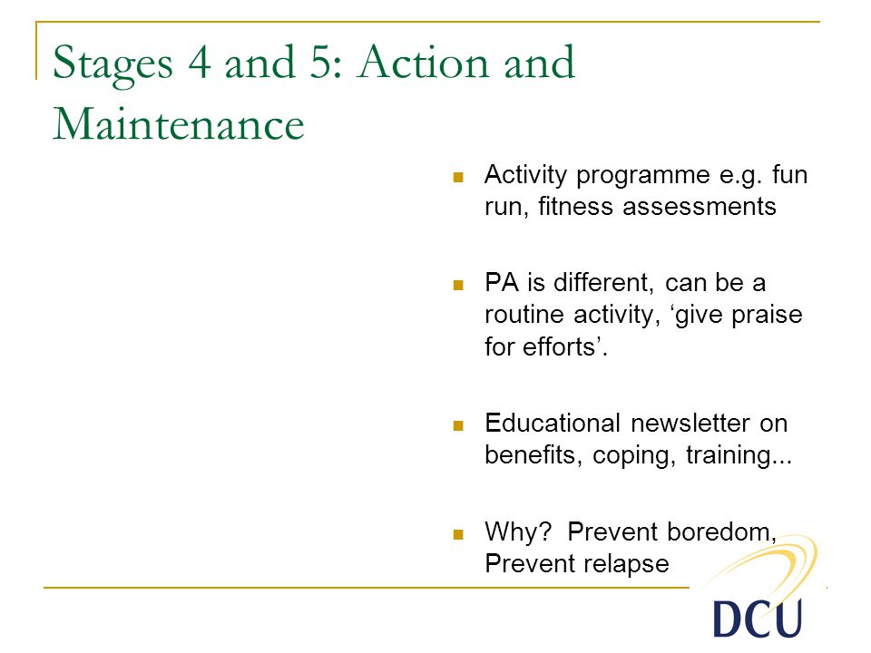 Stages 4 and 5: Action and Maintenance Activity programme e.g.
