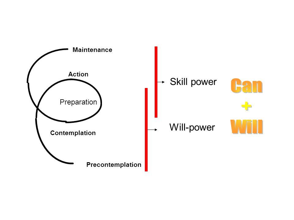 Preparation Precontemplation Contemplation Action Maintenance Will-power Skill power