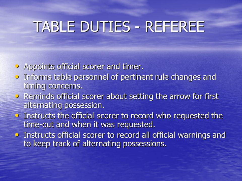 TABLE DUTIES – REFEREE (cont.) Reminds scorers to check books at the end of each quarter, especially the last two minutes of the game.