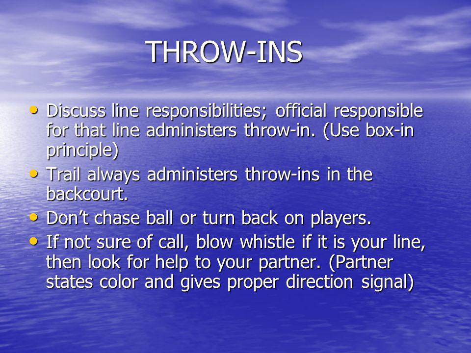 THROW-INS (cont).Check the table for subs before administering throw-in.
