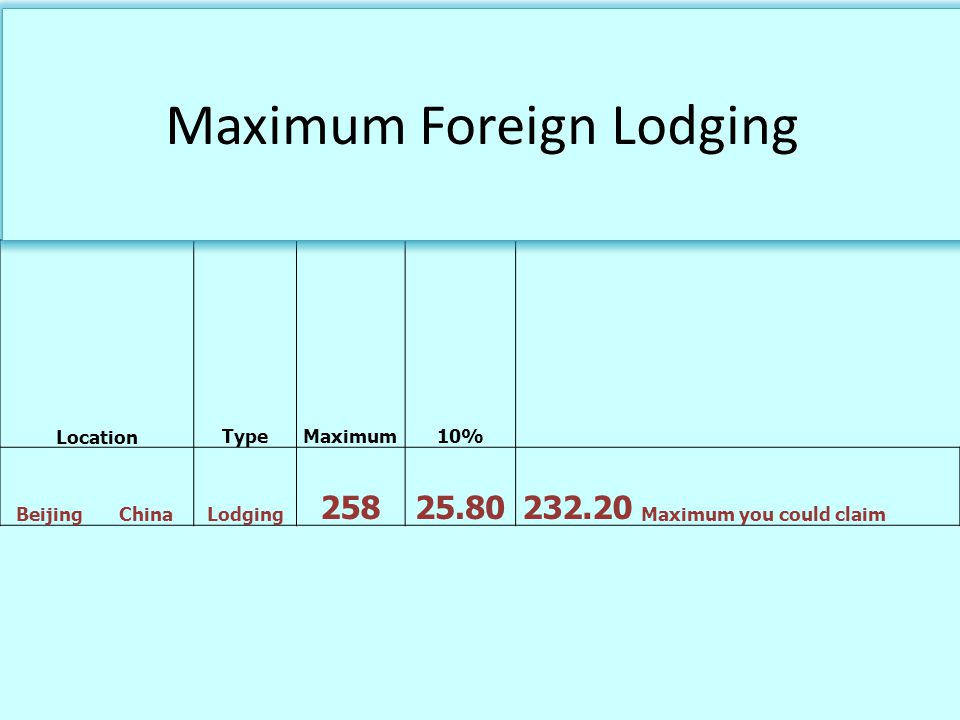 LocationTypeMaximum10% BeijingChinaLodging 25825.80232.20 Maximum you could claim Maximum Foreign Lodging