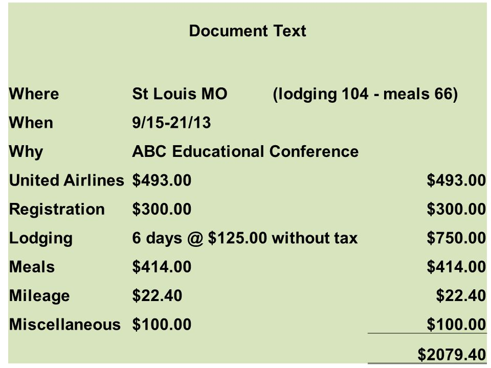 Document Text WhereSt Louis MO (lodging 104 - meals 66) When9/15-21/13 WhyABC Educational Conference United Airlines$493.00 Registration$300.00 Lodgin
