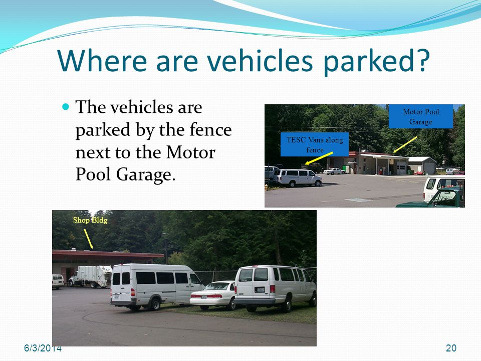 Where are vehicles parked. The vehicles are parked by the fence next to the Motor Pool Garage.