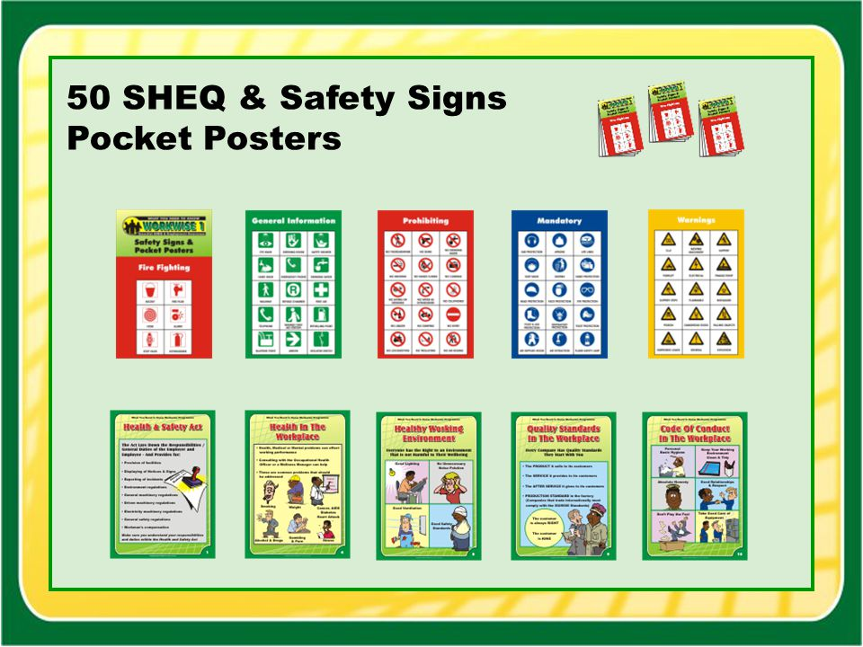 50 SHEQ & Safety Signs Pocket Posters
