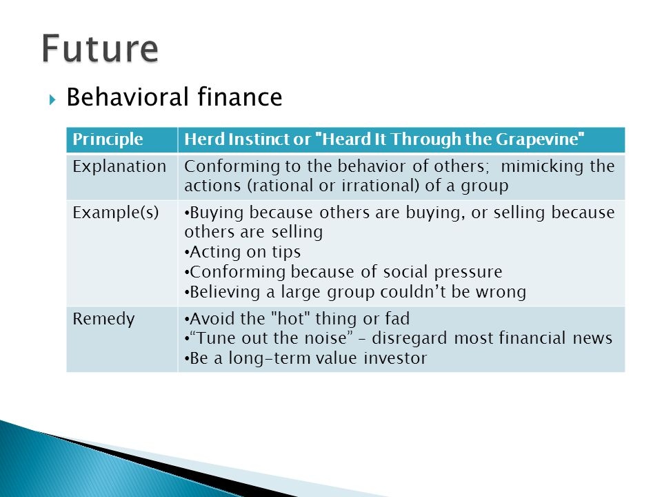 Behavioral finance PrincipleOver-confidence / Over-optimism ExplanationYoure probably not as smart as you think you are.