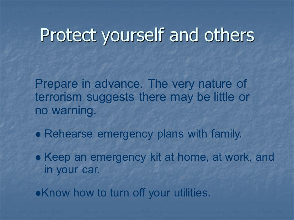 Protect yourself and others Prepare in advance.