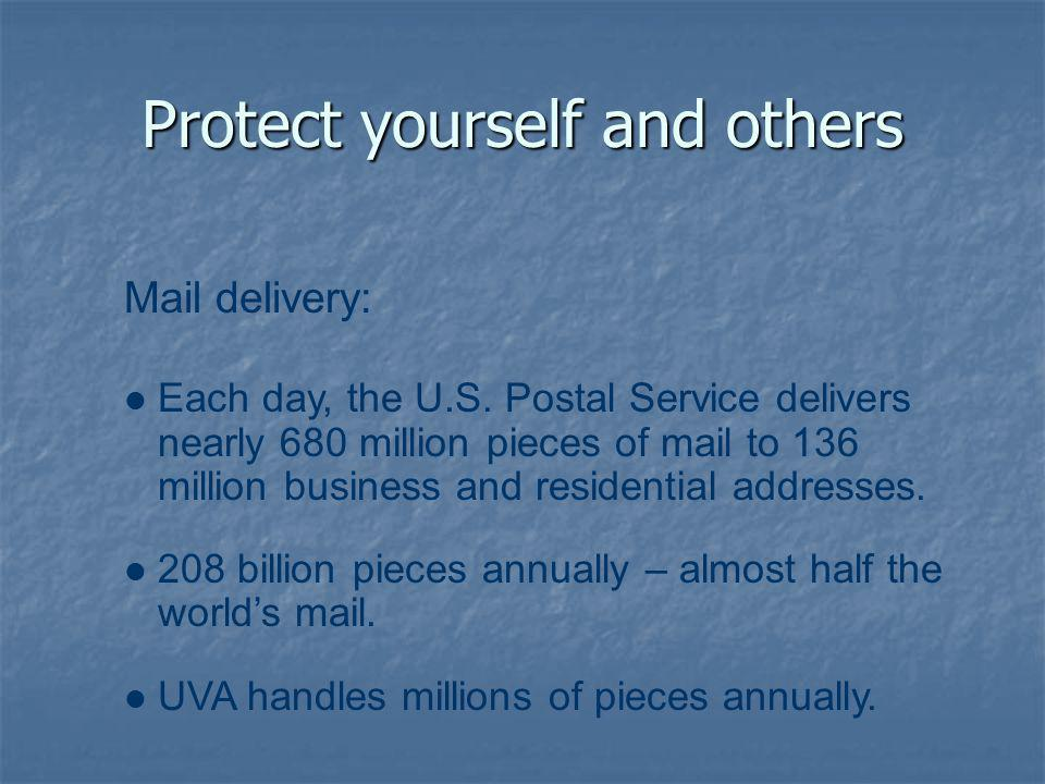 Protect yourself and others Mail delivery: Each day, the U.S.
