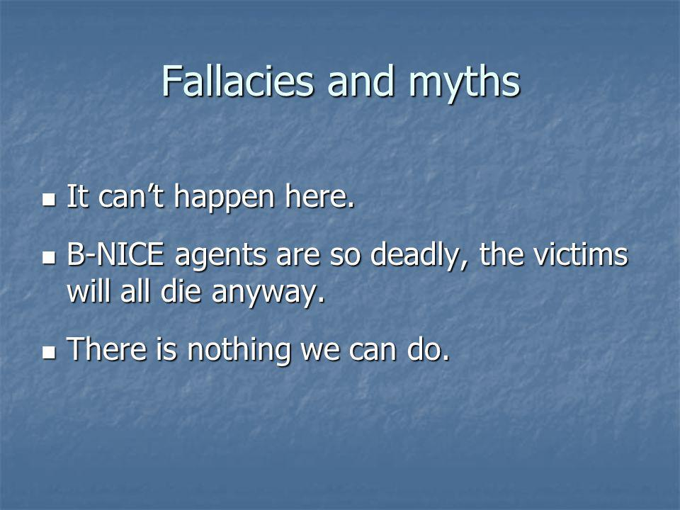 Fallacies and myths It cant happen here. It cant happen here.