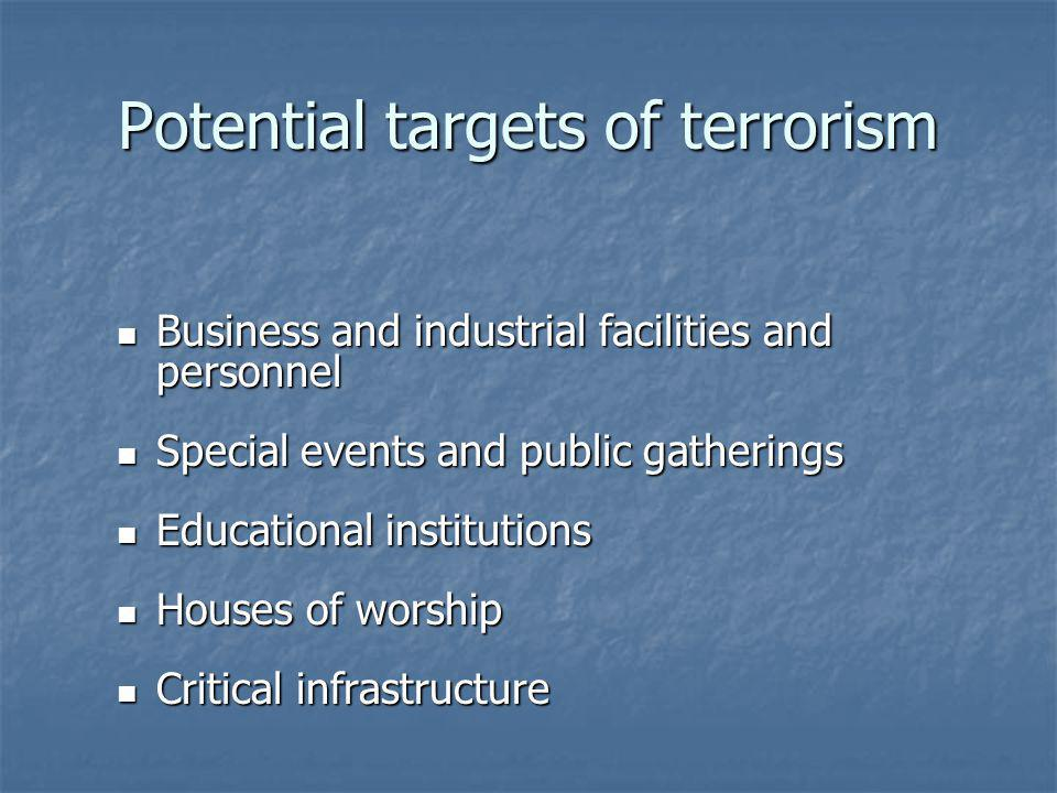 Potential targets of terrorism Business and industrial facilities and personnel Business and industrial facilities and personnel Special events and public gatherings Special events and public gatherings Educational institutions Educational institutions Houses of worship Houses of worship Critical infrastructure Critical infrastructure