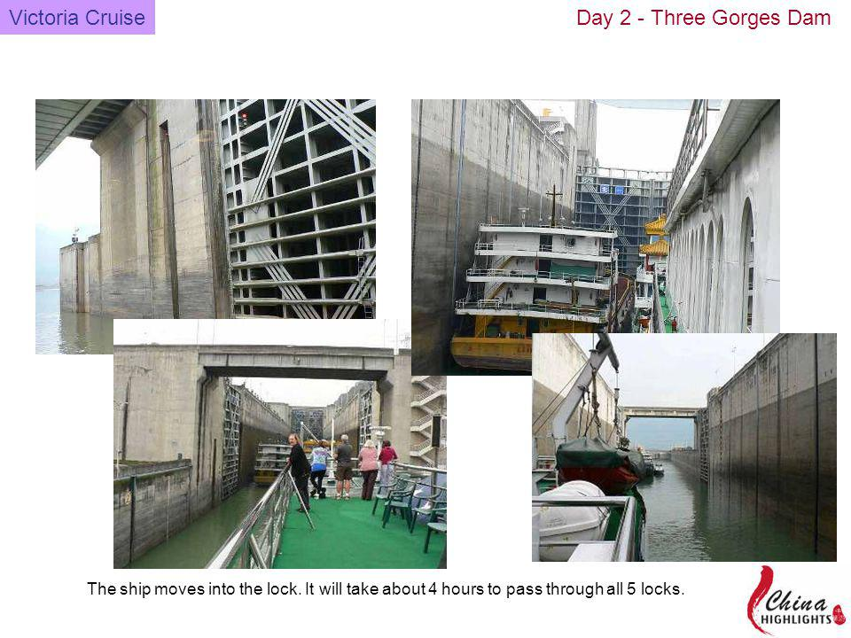 The ship moves into the lock. It will take about 4 hours to pass through all 5 locks.
