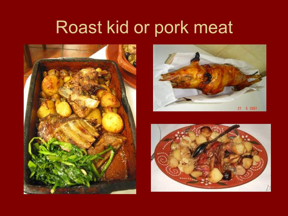 Roast kid or pork meat