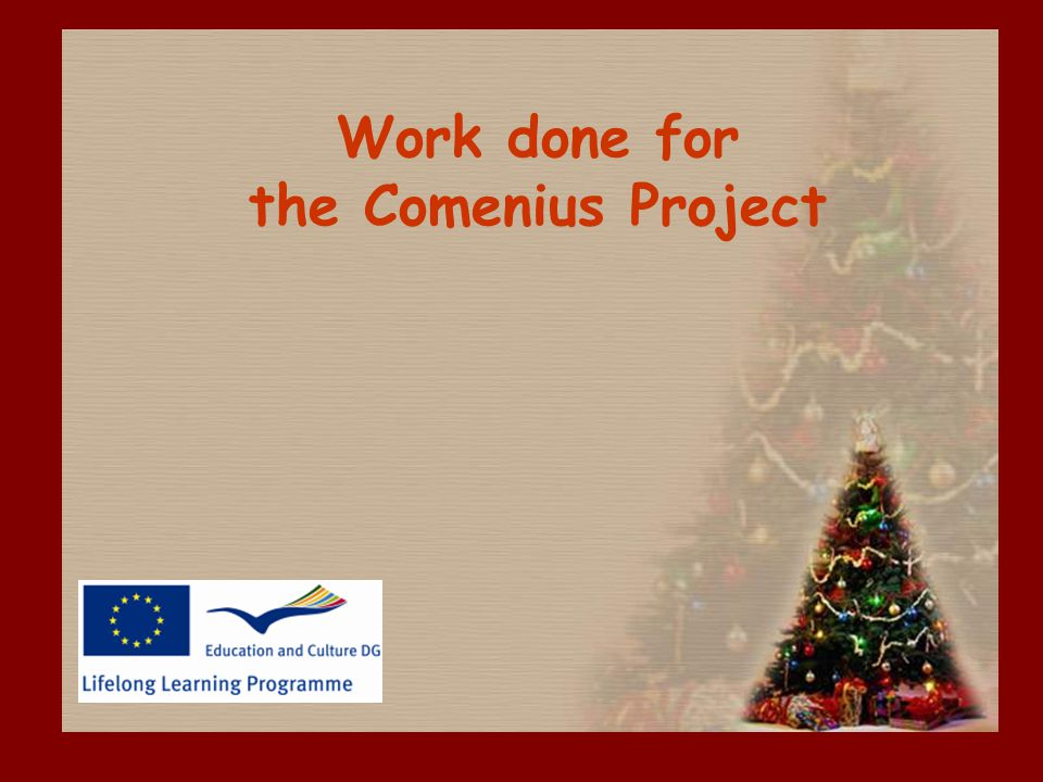Work done for the Comenius Project