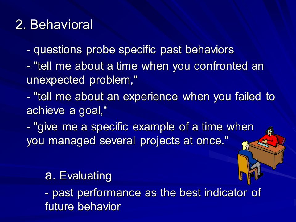 4 Parts of Behavioral Questions 1.describe the situation 2.