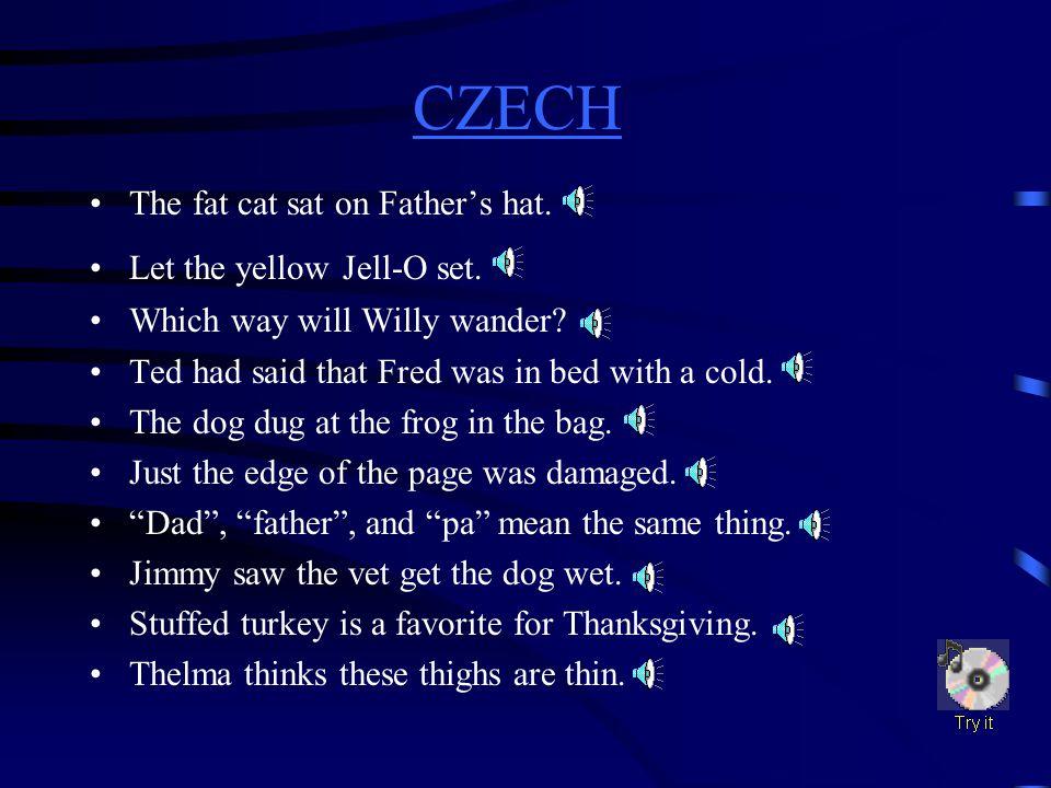 CZECH CZECH Difficult Sounds d(dog) g(game) j(jet) th(thin) th(then) w(water)