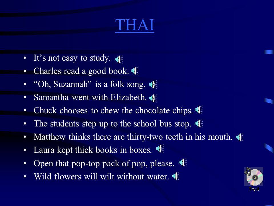 THAI THAI Difficult Sound ch(chin)w(water) l(lip)z(zoo) p,t,k (top, mitt, pick) finali(sit) s(stop) s plus consonante(bed) th(thin)o(go) th(then)oo(book)
