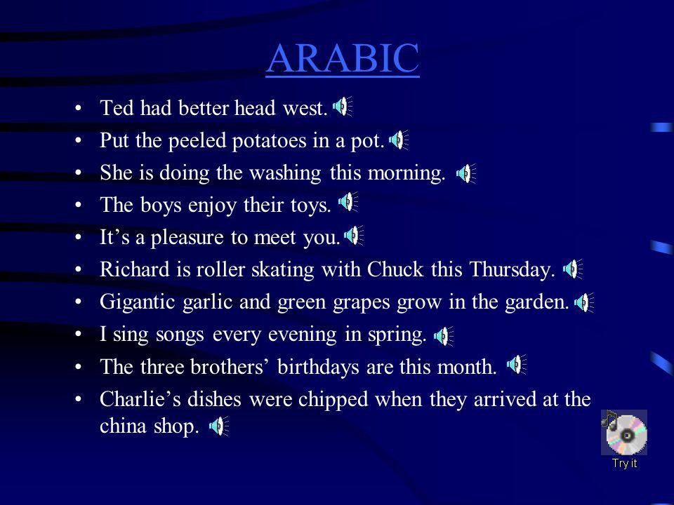 ARABIC ARABIC Difficult Sounds ch(chin)th(thin) g(go)th(then) ng(ring)a(man) p(pot)e(egg) r(red)i(sit) sh(ship)o(hot) t(ten)u(up)