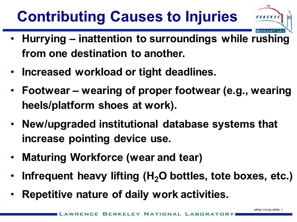 Jeffrey Chung (x5818) 4 Contributing Causes to Injuries Hurrying – inattention to surroundings while rushing from one destination to another. Increase