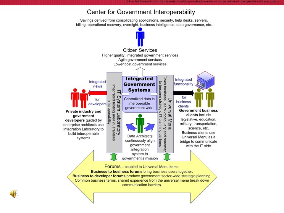 drives inefficiencies out of government by adding missing governance for the creation of interoperable software systems