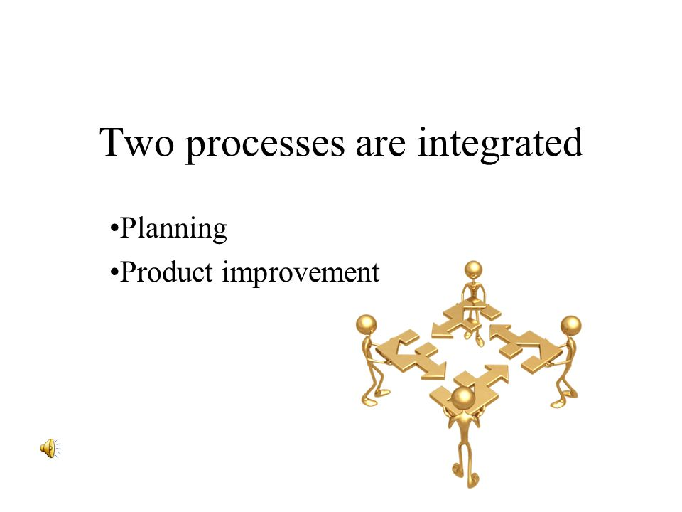 Two processes are integrated Planning Product improvement