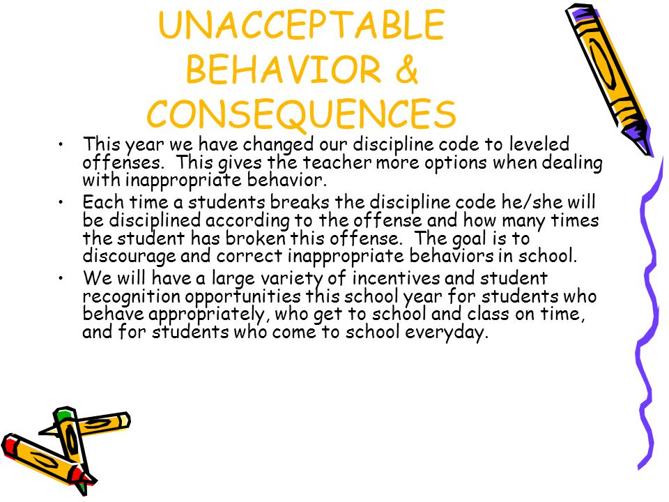 UNACCEPTABLE BEHAVIOR & CONSEQUENCES This year we have changed our discipline code to leveled offenses.