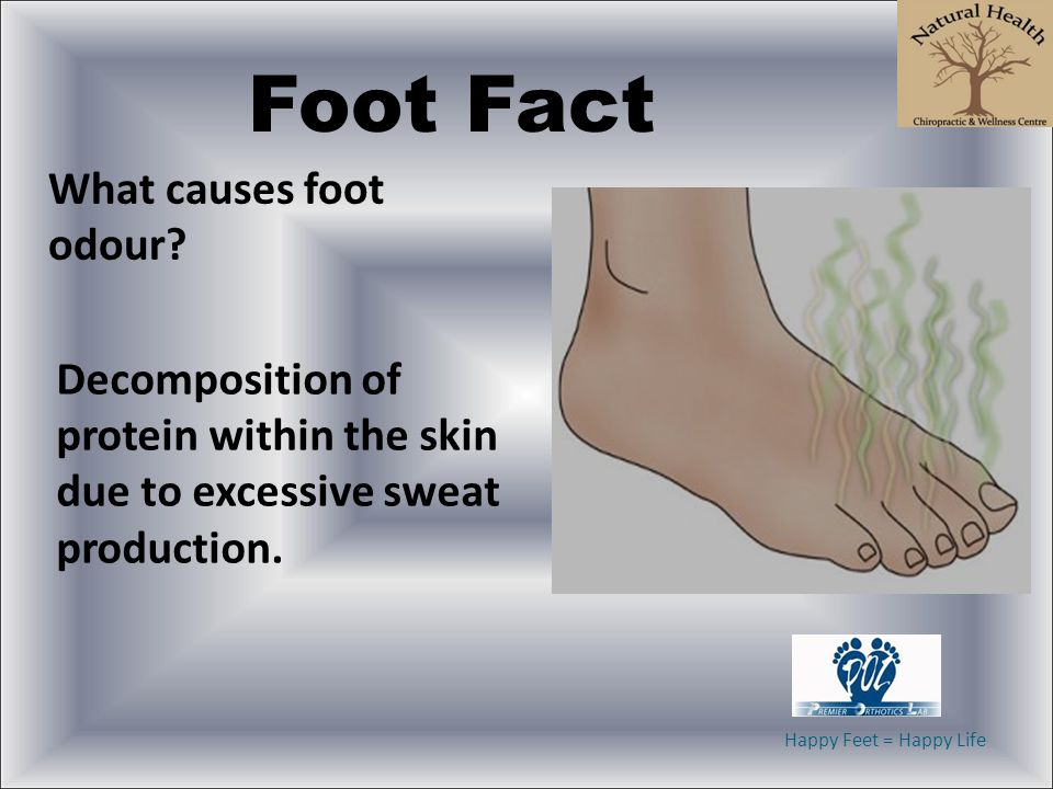 Happy Feet = Happy Life Foot Fact What causes foot odour? Decomposition of protein within the skin due to excessive sweat production.