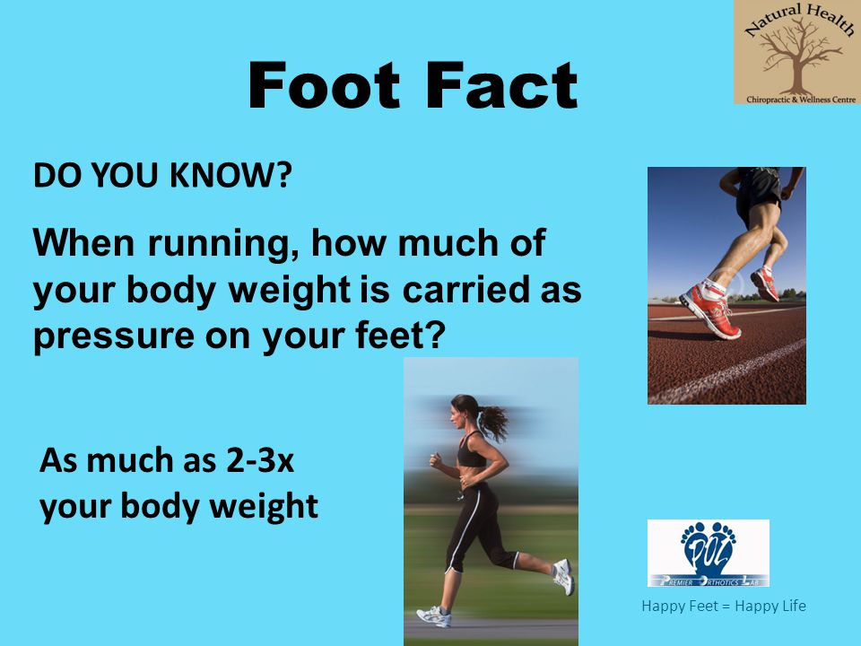 Happy Feet = Happy Life Foot Fact When running, how much of your body weight is carried as pressure on your feet? As much as 2-3x your body weight DO