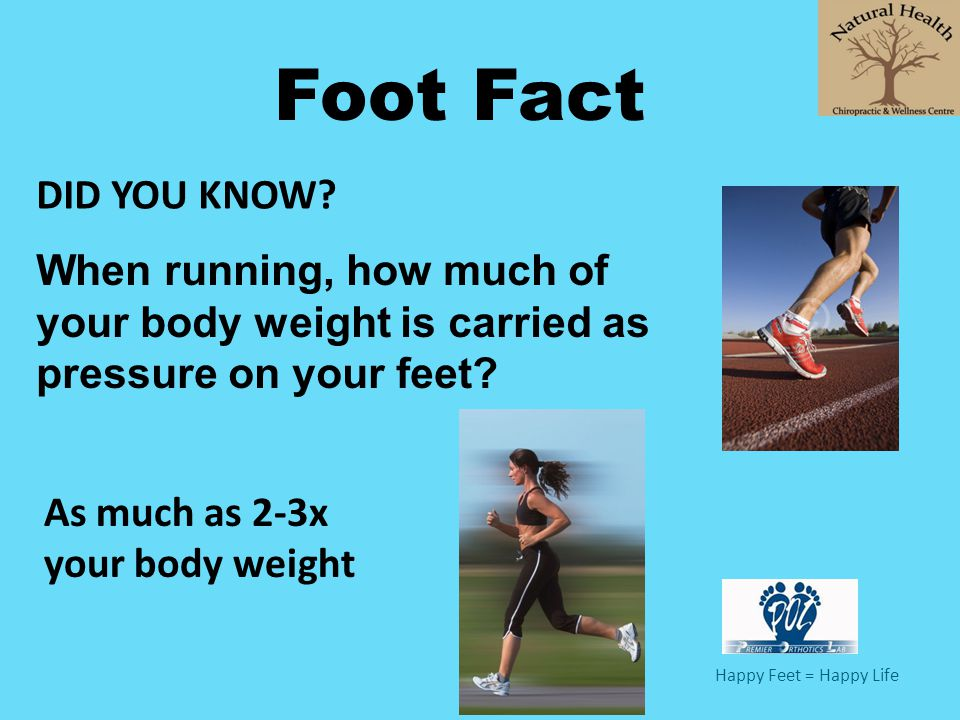 Happy Feet = Happy Life Foot Fact When running, how much of your body weight is carried as pressure on your feet? As much as 2-3x your body weight DID