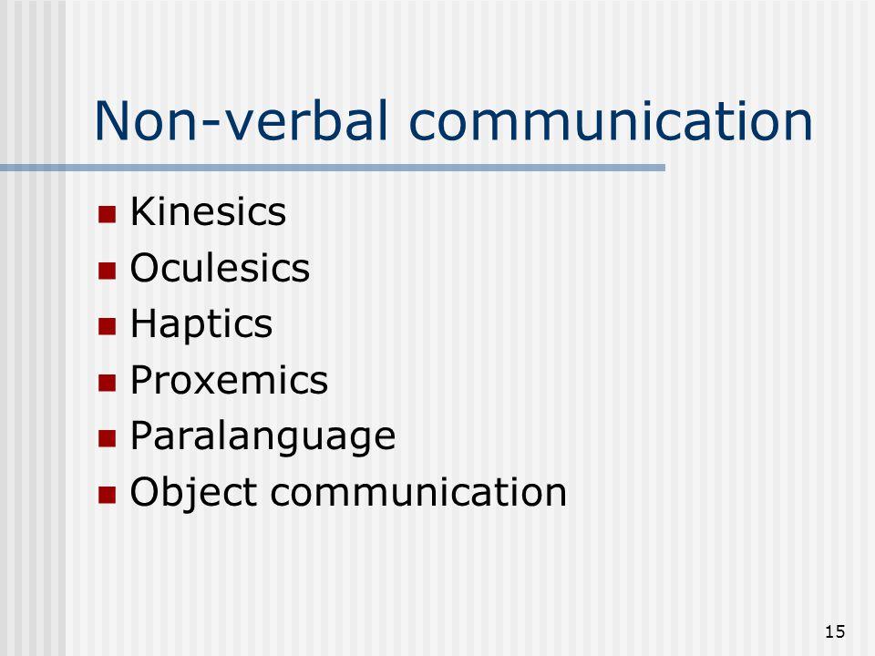 15 Non-verbal communication Kinesics Oculesics Haptics Proxemics Paralanguage Object communication