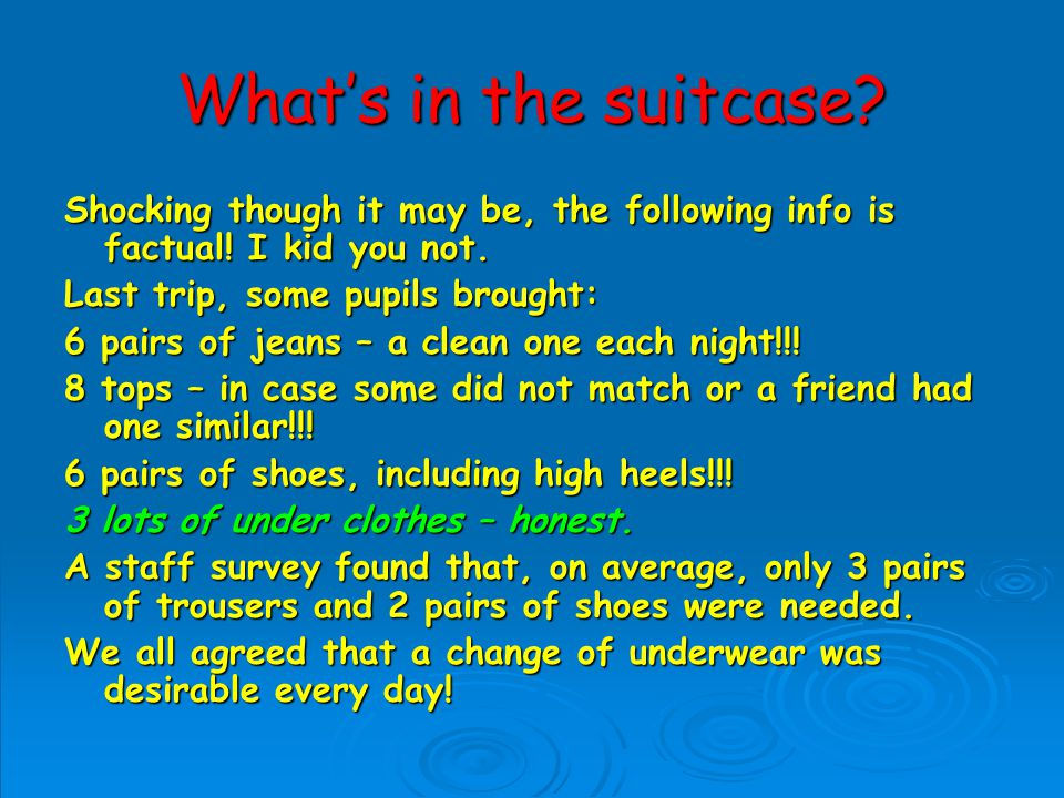 Whats in the suitcase.Shocking though it may be, the following info is factual.