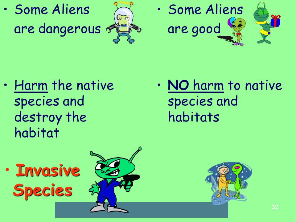 32 Invasive Species Some Aliens are dangerous Harm the native species and destroy the habitat Some Aliens are good NO harm to native species and habitats