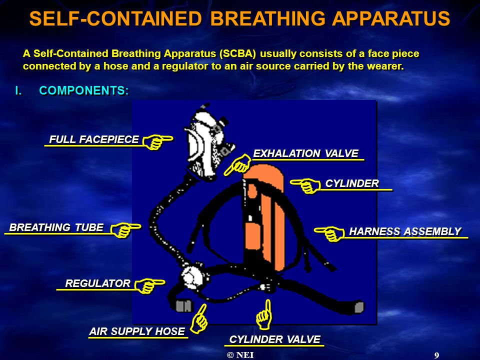 © NEI 9 SELF-CONTAINED BREATHING APPARATUS A Self-Contained Breathing Apparatus (SCBA) usually consists of a face piece connected by a hose and a regulator to an air source carried by the wearer.