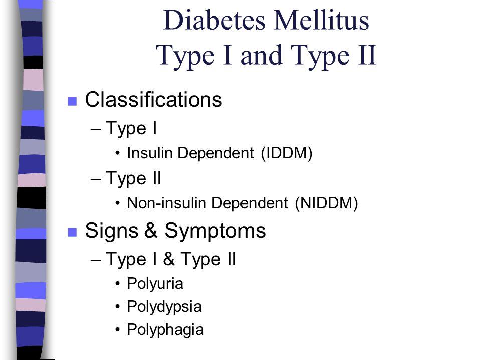 Diabetes Mellitus Type I and Type II n Classifications –Type I Insulin Dependent (IDDM) –Type II Non-insulin Dependent (NIDDM) n Signs & Symptoms –Typ
