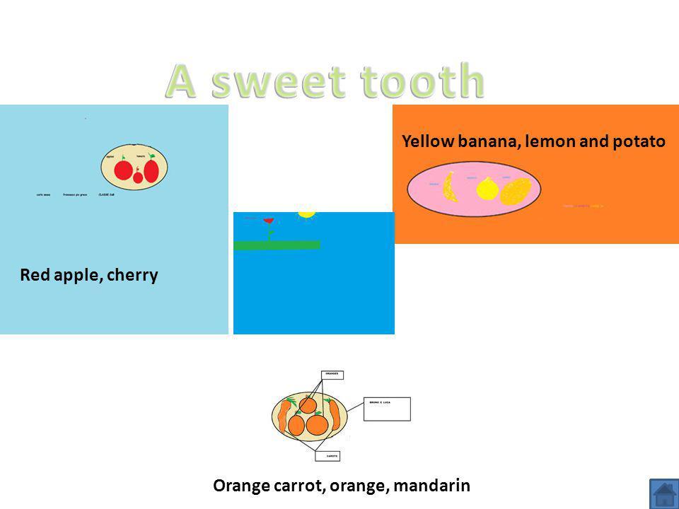 Yellow banana, lemon and potato Red apple, cherry Orange carrot, orange, mandarin